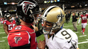 of the Atlanta Falcons of the New Orleans Saints duirng a game at the Mercedes-Benz Superdome on September 8, 2013 in New Orleans, Louisiana.