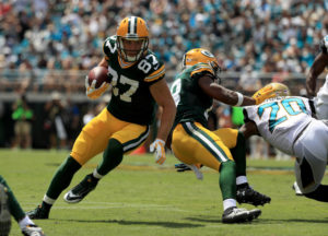 JACKSONVILLE, FL - SEPTEMBER 11:  Jordy Nelson #87 of the Green Bay Packers runs after catching a pass against the Jacksonville Jaguars in their game at EverBank Field on September 11, 2016 in Jacksonville, Florida.  (Photo by Mike Ehrmann/Getty Images)